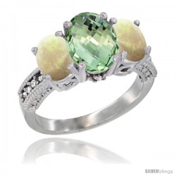 10K White Gold Ladies Natural Green Amethyst Oval 3 Stone Ring with Opal Sides Diamond Accent