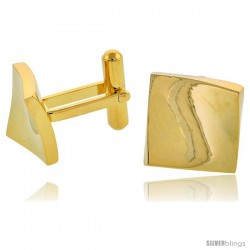 Stainless Steel Square Gold Plated Cufflinks with Flared Corners, 5/8 in (15 mm)