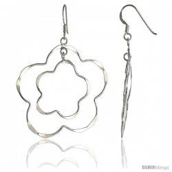 "Sterling Silver Double Flower Cut Out Dangle Earrings, 1 9/16"" (40 mm) tall"