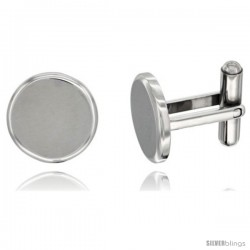 Stainless Steel Round Shape Cufflinks Matte finish Beveled Edge, 5/8 in