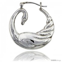 Sterling Silver High Polished Medium Swan Earrings