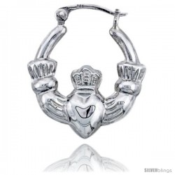 Sterling Silver High Polished Small Claddagh Earrings