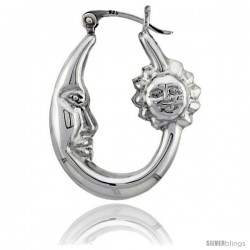 Sterling Silver High Polished Small Sun and Moon Earrings