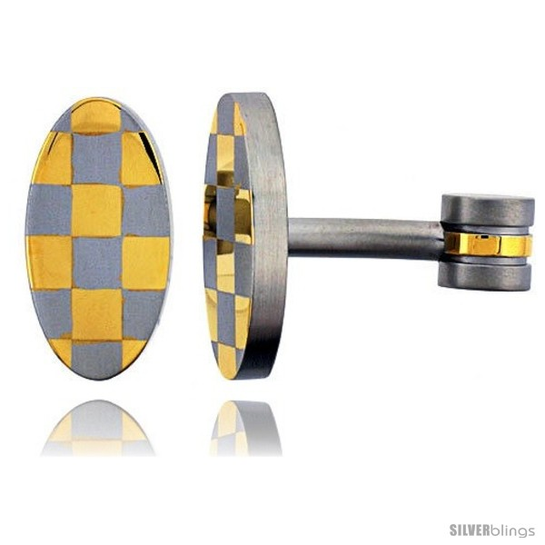 https://www.silverblings.com/2196-thickbox_default/stainless-steel-oval-shape-cufflinks-gold-plated-checkered-pattern.jpg
