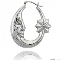 Sterling Silver High Polished Large Moon and Star Earrings