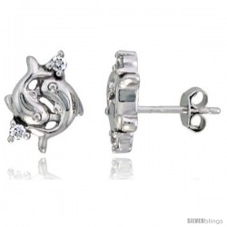 "Sterling Silver Jeweled Dolphin Post Earrings, w/ Cubic Zirconia stones, 7/16"" (12 mm)"