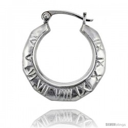 Sterling Silver High Polished Small Roman Numbers Earrings