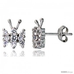 "Sterling Silver Jeweled Butterfly Post Earrings, w/ Cubic Zirconia stones, 3/8"" (10 mm)"