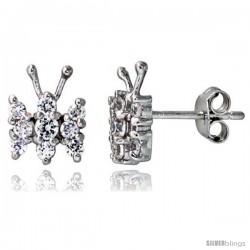 "Sterling Silver Jeweled Butterfly Post Earrings, w/ Cubic Zirconia stones, 3/8"" (10 mm)"