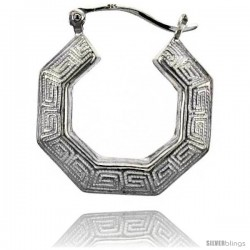 Sterling Silver High Polished Medium Greek-key Earrings