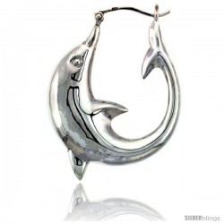 Sterling Silver High Polished Large Dolphin Earrings