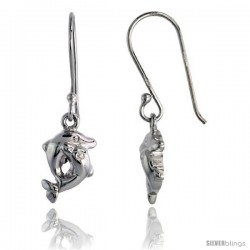 "Sterling Silver Jeweled Kissing Dolphins Post Earrings, w/ Cubic Zirconia stones, 7/16"" (12 mm)"