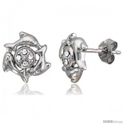 "Sterling Silver Jeweled Dolphin Post Earrings, w/ Cubic Zirconia stones, 7/16"" (11 mm) -Style Te1265pp"