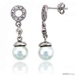 "Sterling Silver Jeweled Post Earrings w/ Faux Pearls & Cubic Zirconia, 1 1/8"" (28 mm)"