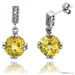 "Sterling Silver Dangle Ball Earrings w/ Brilliant Cut CZ Stones & Yellow Topaz-colored Crystal Balls, 1"" (26 mm) tall"