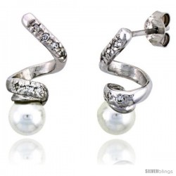 "Sterling Silver Jeweled Spiral Post Earrings, w/ Faux Pearls & Cubic Zirconia, 3/4"" (19 mm)"