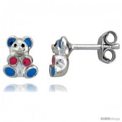 """Sterling Silver Child Size Teddy Bear Earrings, w/ Blue & Pink Enamel Design, 1/4"""" (7 mm) tall"""