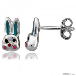 "Sterling Silver Child Size Rabbit Head Earrings, w/ Aqua Green & Pink Enamel Design, 5/16"" (9 mm) tall"