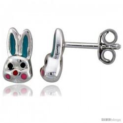 """Sterling Silver Child Size Rabbit Head Earrings, w/ Aqua Green & Pink Enamel Design, 5/16"""" (9 mm) tall"""