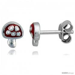 """Sterling Silver Child Size Mushroom Earrings, w/ Red Enamel Design, 1/4"""" (6 mm) tall"""