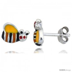 "Sterling Silver Child Size Bumble Bee Earrings, w/ Yellow, Black & Orange Enamel Design, 5/16"" (8 mm) wide"