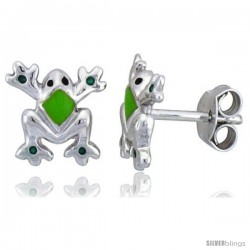 "Sterling Silver Child Size Frog Earrings, w/ Green Enamel Design, 3/8"" (9 mm) tall"