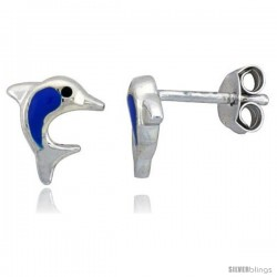 "Sterling Silver Child Size Dolphin Earrings, w/ Blue Enamel Design, 1/4"" (6 mm) tall"