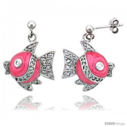 "Sterling Silver Jeweled Fish Post Earrings, w/ Pink Enamel & Cubic Zirconia, 1 1/16"" (27 mm)"
