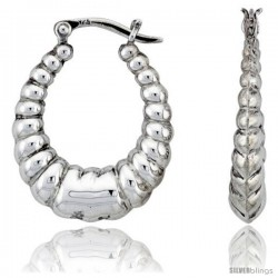"Sterling Silver High Polished Classic Hoop Earrings, 1 1/16"" Long"