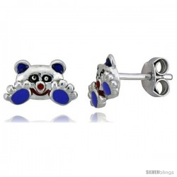 "Sterling Silver Child Size Panda Bear Earrings, w/ Black, Lavender & Red Enamel Design, 1/4"" (6 mm) tall"