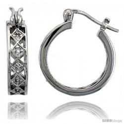 Sterling Silver Hoop Earrings Pave Set CZ, 3/4 in. 20 mm
