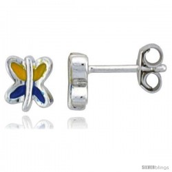 "Sterling Silver Child Size Butterfly Earrings, w/ Blue & Yellow Enamel Design, 1/4"" (6 mm) tall"