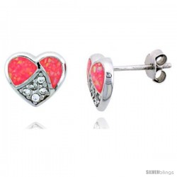 Sterling Silver Heart Post Earrings w/ Pink Synthetic Opal & Cubic Zirconia, 3/8 in