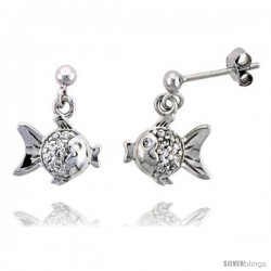 "Sterling Silver Jeweled Fish Post Earrings w/ Cubic Zirconia stones, 1/2"" (13 mm)"