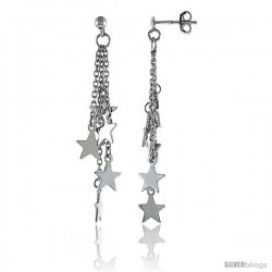 Sterling Silver Dangling Stars Post Earrings, w/ Rolo chain, 1 5/8 (41 mm)