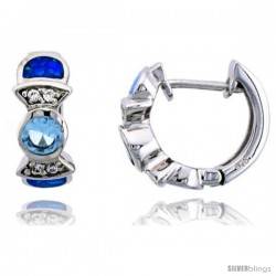 Sterling Silver Huggie Earrings w/ Synthetic Opal inlay & Aqua Cubic Zirconia, 5/8 in