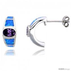 Sterling Silver Synthetic Opal Post Earrings w/ Oval Amethyst Cubic Zirconia, 5/8 in