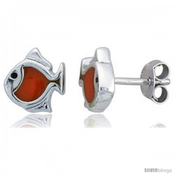 "Sterling Silver Child Size Fish Earrings, w/ Orange Enamel Design, 5/16"" (8 mm) tall"