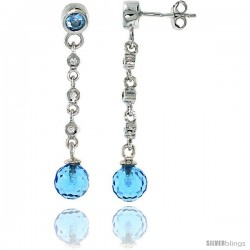 Sterling Silver Dangling Post Earrings, w/ Blue Cubic Zirconia, 1 9/16 (39 mm)