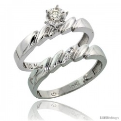 10k White Gold Ladies' 2-Piece Diamond Engagement Wedding Ring Set, 5/32 in wide