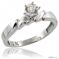10k White Gold Diamond Engagement Ring, 5/32 in wide