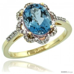 10k Yellow Gold Diamond Halo London Blue Topaz Ring 1.65 Carat Oval Shape 9X7 mm, 7/16 in (11mm) wide