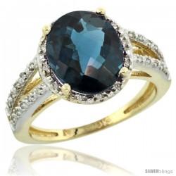 10k Yellow Gold Diamond Halo London Blue Topaz Ring 2.85 Carat Oval Shape 11X9 mm, 7/16 in (11mm) wide