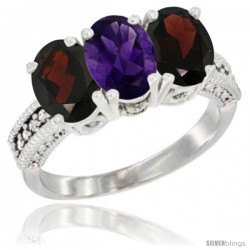 14K White Gold Natural Amethyst & Garnet Sides Ring 3-Stone 7x5 mm Oval Diamond Accent