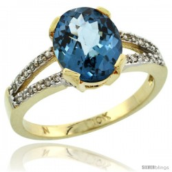 10k Yellow Gold and Diamond Halo London Blue Topaz Ring 2.4 carat Oval shape 10X8 mm, 3/8 in (10mm) wide