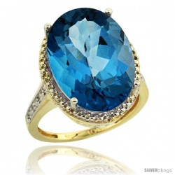 10k Yellow Gold Diamond London Blue Topaz Ring 13.56 Carat Oval Shape 18x13 mm, 3/4 in (20mm) wide