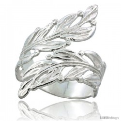 Sterling Silver Freeform Leaf Vine Ring Polished finish 1 3/16 in wide