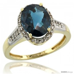 10k Yellow Gold Diamond London Blue Topaz Ring 2.4 ct Oval Stone 10x8 mm, 1/2 in wide