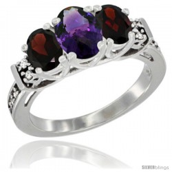14K White Gold Natural Amethyst & Garnet Ring 3-Stone Oval with Diamond Accent