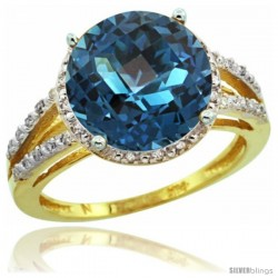 10k Yellow Gold Diamond London Blue Topaz Ring 5.25 ct Round Shape 11 mm, 1/2 in wide